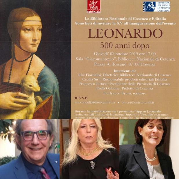 La cultura del Sud si ritrova a Cosenza Biblioteca nazionale per celebrare l'evento istituzionale: 500 anni di Leonardo da Vinci