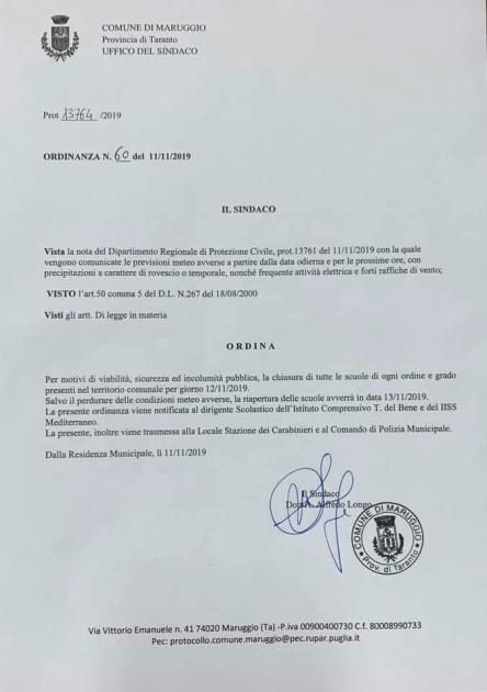 Allerta Meteo domani martedì 12 novembre scuole chiuse a Maruggio