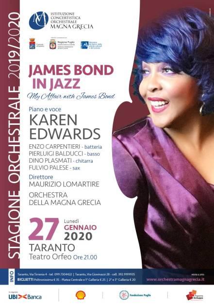 Lunedì 27 gennaio, Karen Edwards al teatro Orfeo di Taranto James Bond, un mito in musica