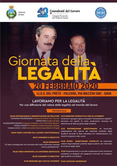 """A Sava studenti a lezione di legalità! Giovedì 20 febbraio, presso l'I.I.S.S. """"Del Prete-Falcone"""" di Sava si terrà il workshop la """"Giornata della Legalità""""."""