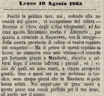 1865-1866: Il colera in Manduria nelle cronache dell'epoca (prima parte)
