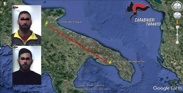 Manduria: catturati due degli evasi dal carcere di Foggia. I particolari della cattura