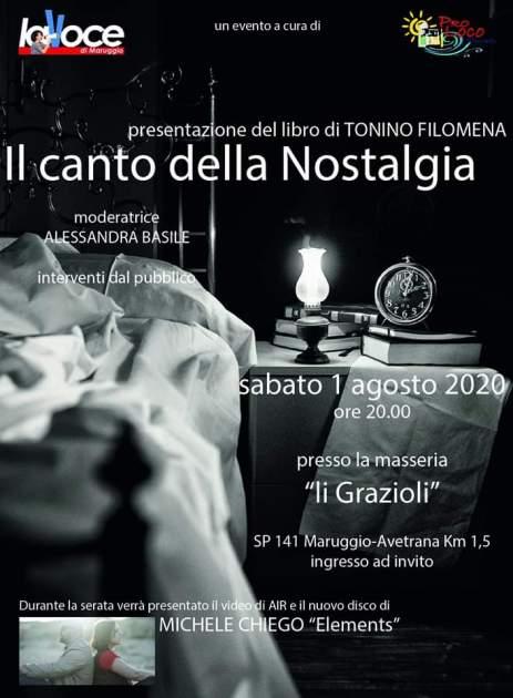 """Sabato 1 agosto, presentazione del libro """"Il canto della Nostalgia"""" di Tonino Filomena"""