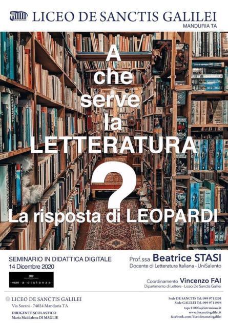 """""""A che serve la Letteratura? La risposta di Leopardi"""" agli studenti del Liceo De Sanctis Galilei"""