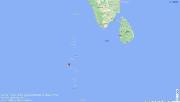 Caduto nell'Oceano Indiano il razzo cinese fuori controllo. Pericolo scampato