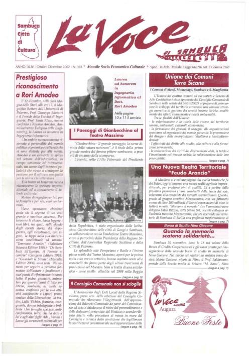 ANTEPRIMA N.381 Ottobre Dicembre 2002