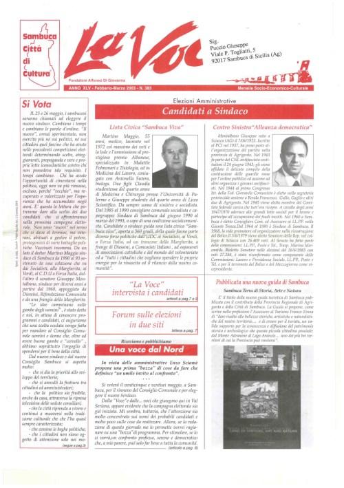ANTEPRIMA N.383 Febbraio 2003