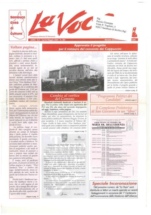 ANTEPRIMA N.384 Aprile Maggio 2003