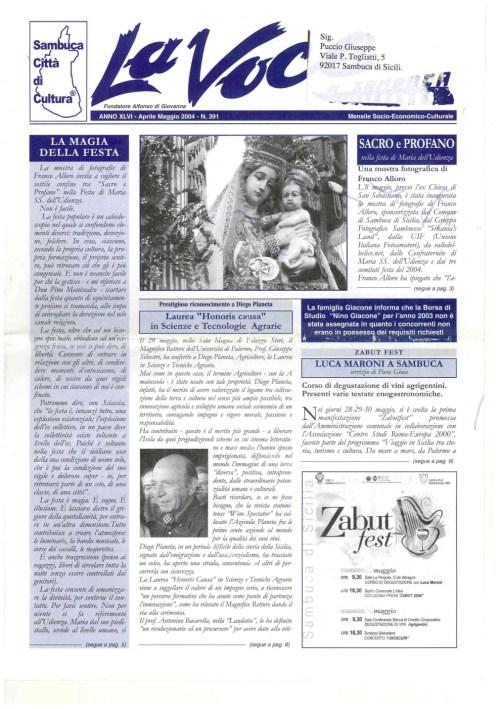 ANTEPRIMA N.391 Aprile Maggio 2004