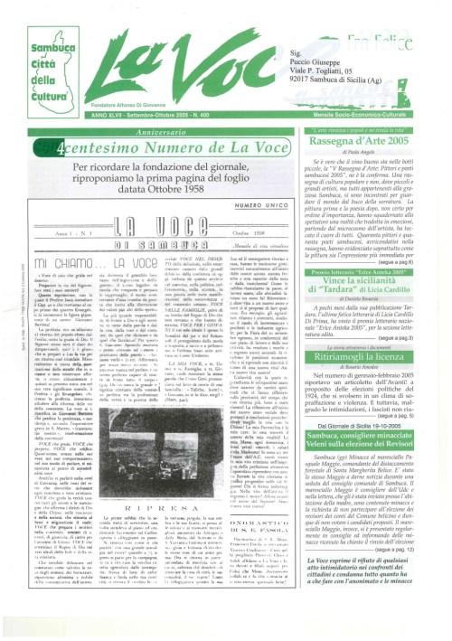 ANTEPRIMA N.400 Settembre Ottobre 2005