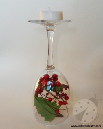 Centrotavola di natale con i bicchieri - Bicchieri decorati per natale ...