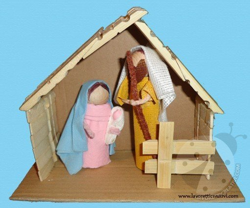 Lavoretti Natale - Presepe con mollette