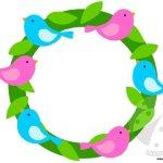 Ghirlanda di primavera con uccellini