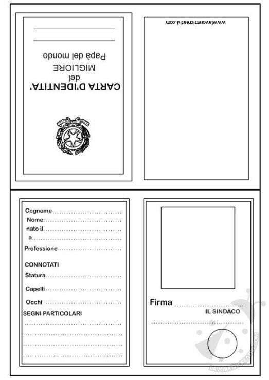 La carta d 39 identit del pap - Indietro a scuola foglio da colorare ...