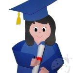 Fine Anno Scolastico – Bambina con toga e tocco