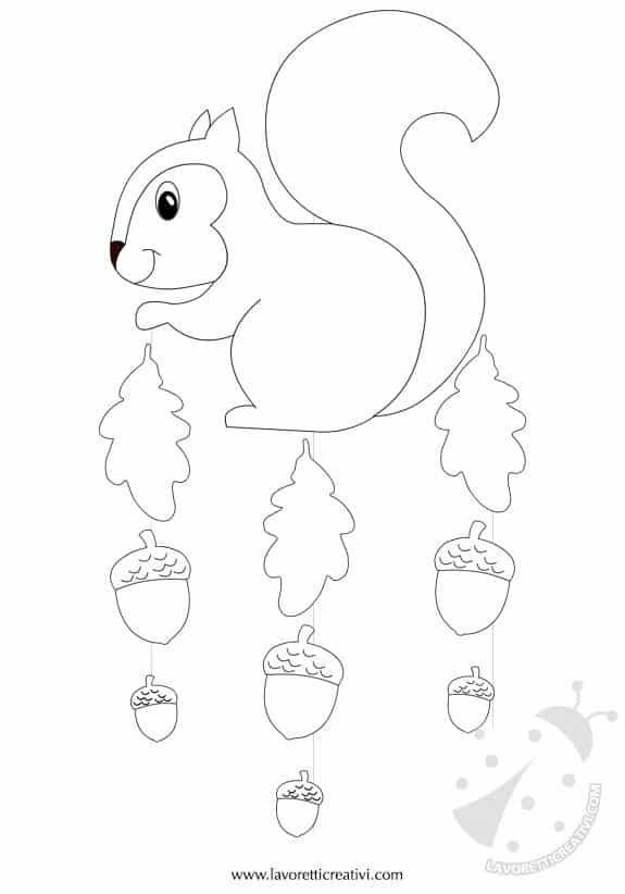 Addobbi autunno scoiattolo con ghiande for Addobbi autunno per aula scuola