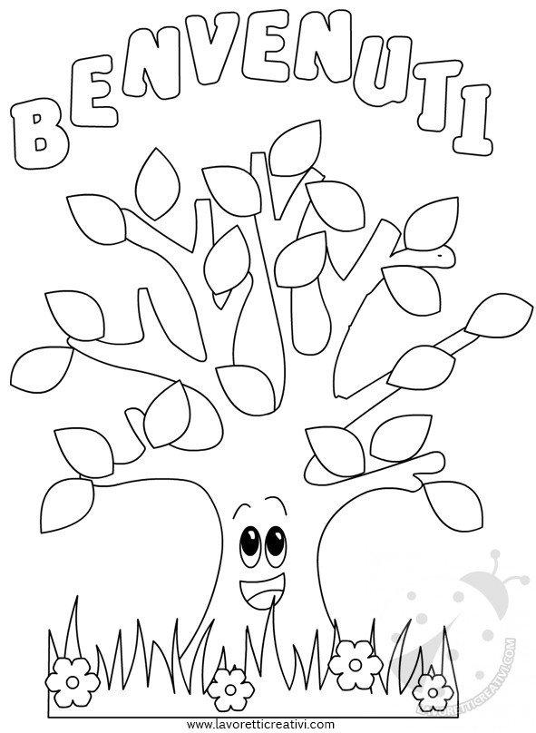 Cartellone Benvenuti con albero e coccinelle