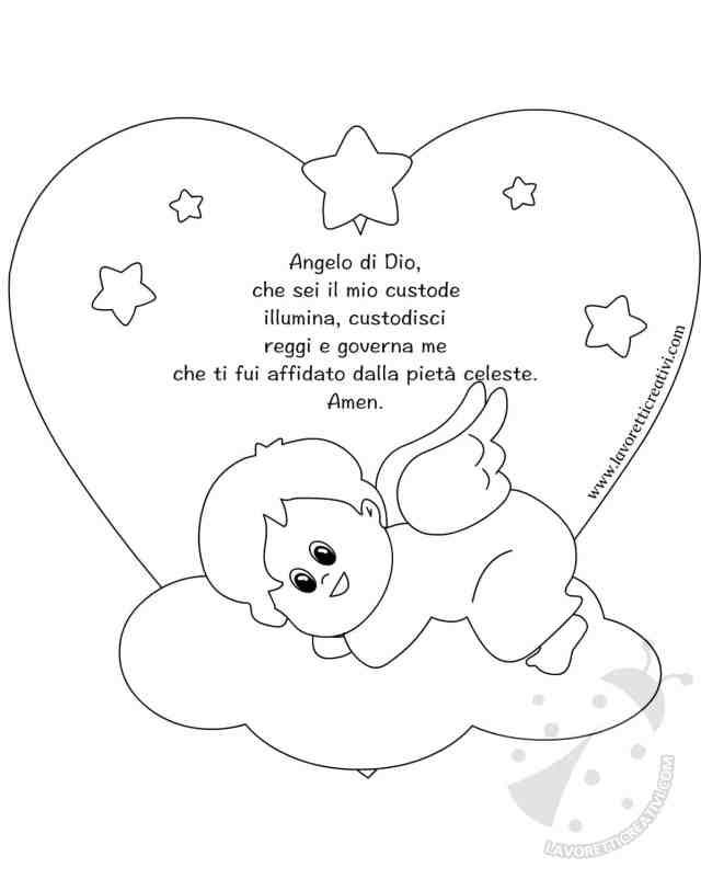 Quadretto con nuvola e angelo custode for Angeli per bambini da colorare