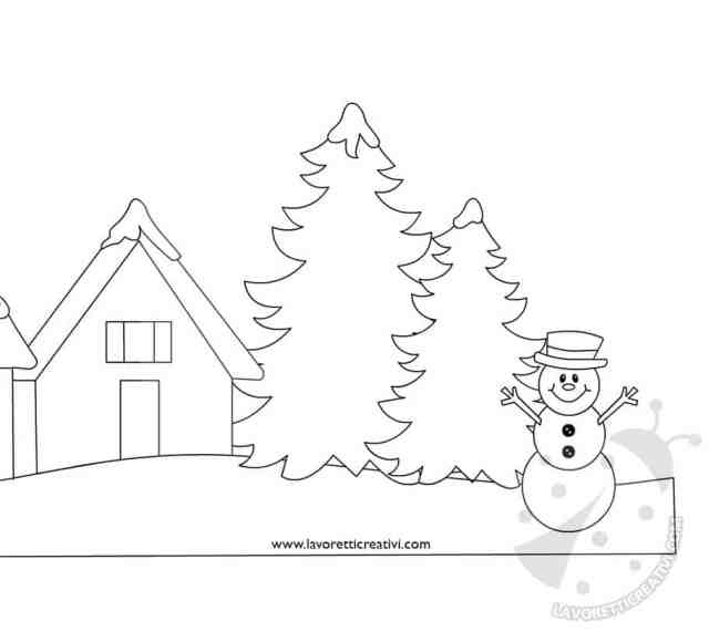 Idee cartellone Disegno paesaggio invernale