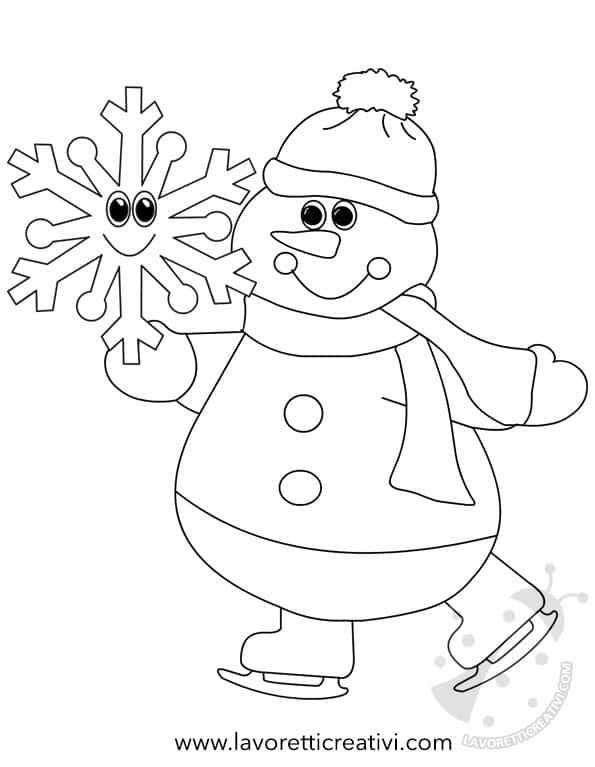 Idea cartellone inverno Pupazzo di neve con pattini