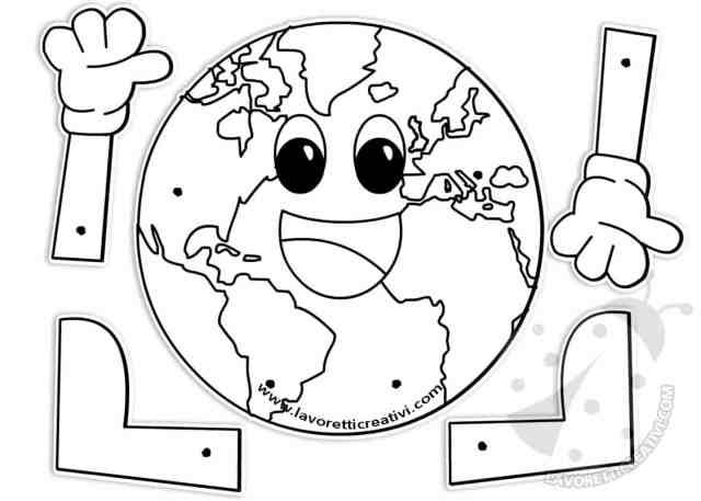 Terra con fermacampioni Lavoretti Giornata della Terra