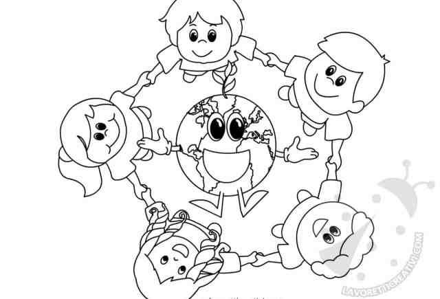 Giornata della Terra Disegno di Bambini con Pianeta Terra
