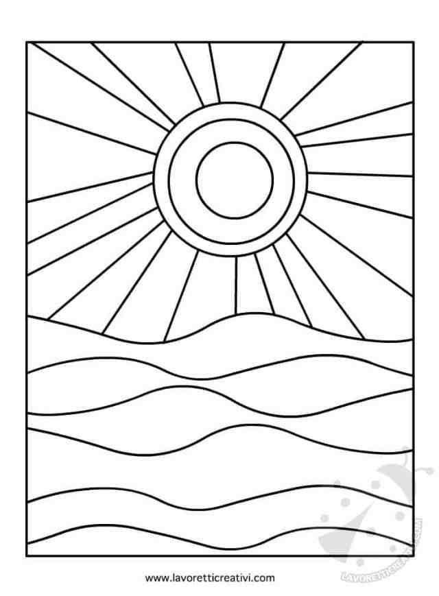 Sole e mare colori caldi e freddi for Sole disegno da colorare