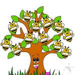 Cartellone Accoglienza Scuola Infanzia con albero e api
