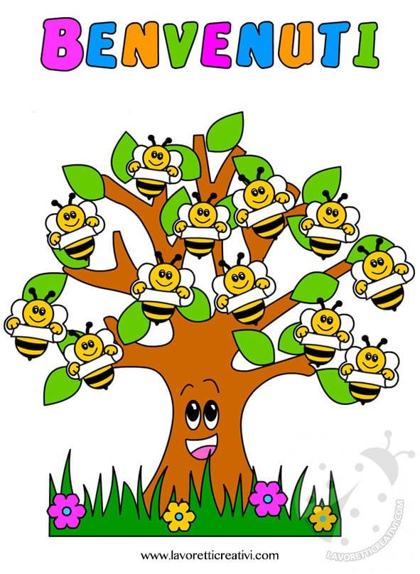Cartellone accoglienza scuola infanzia con albero e api for Addobbi autunno scuola infanzia