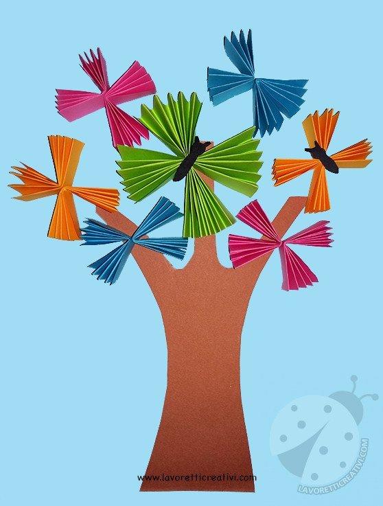 Addobbi aula scuola albero con farfalle a fisarmonica for Addobbi aula