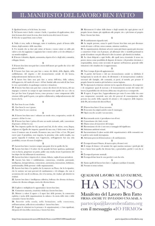 Manifesto del Lavoro Ben Fatto