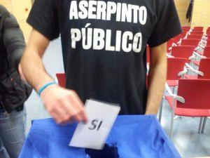 Papeleta de la votación a favor de la huelga de Aserpinto en la asamblea de trabajadores.