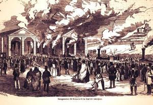 Grabado de la época de la inauguración del ferrocarril entre Madrid y Aranjuez
