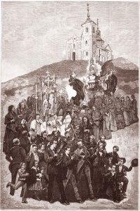 Procesión de la Virgen desde la Ermita de los Ángeles. Grabado de 1881