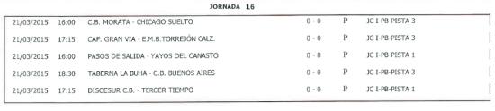 Horarios Baloncesto. Semana del 16 al 22 de marzo. Fuente: Ayuntamiento de Pinto.