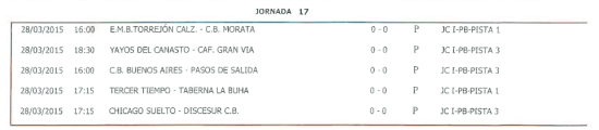Horarios Baloncesto. 28 de marzo de 2014. Fuente: Ayuntamiento de Pinto.