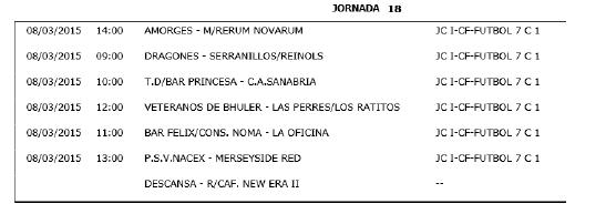 Horarios Fútbol 7. Jornada 18. Fuente: Ayuntamiento de Pinto.