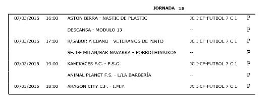 Horarios Fútbol 7 Segunda división. Jornada 18. Fuente: Ayuntamiento de Pinto.