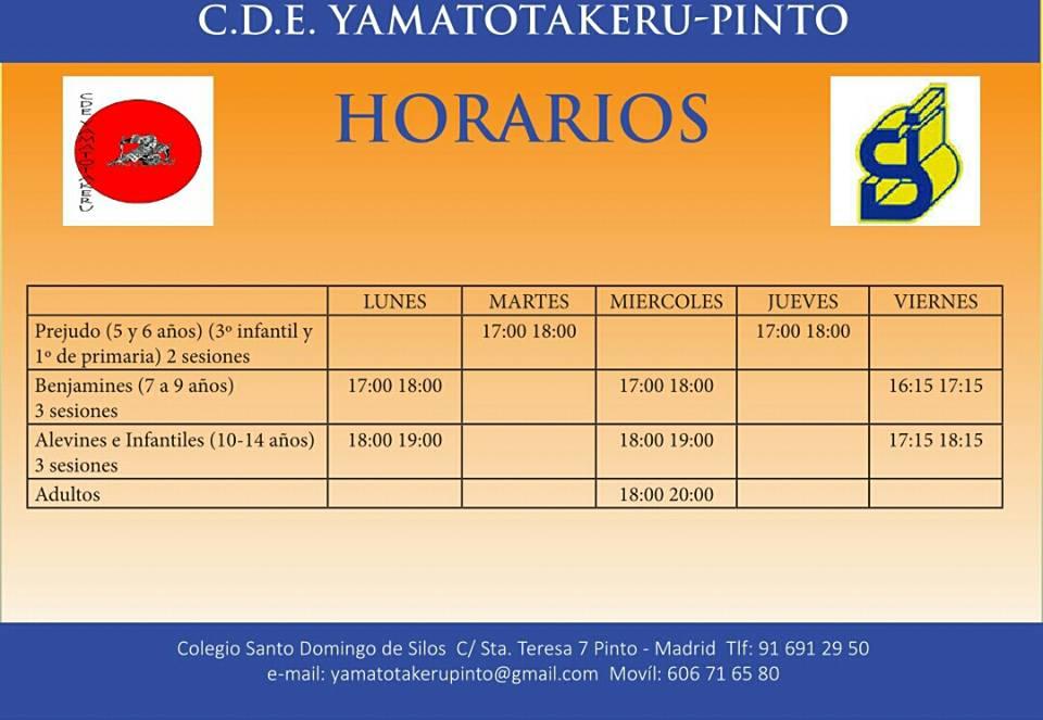 Horarios de las actividades del C.D.E. Yamatotakeru-Pinto en el Colegio Santo Domingo de Silos.