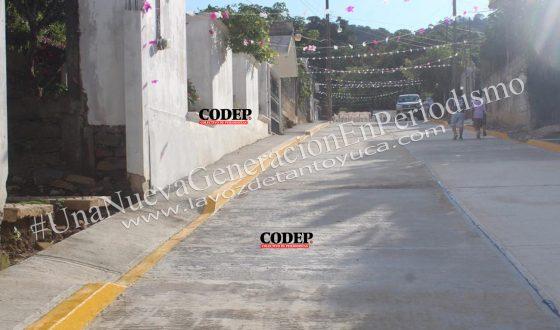 Inaugura Pedro Adrián Martínez Estrada pavimentación de calle en Mexcatla | LVDT