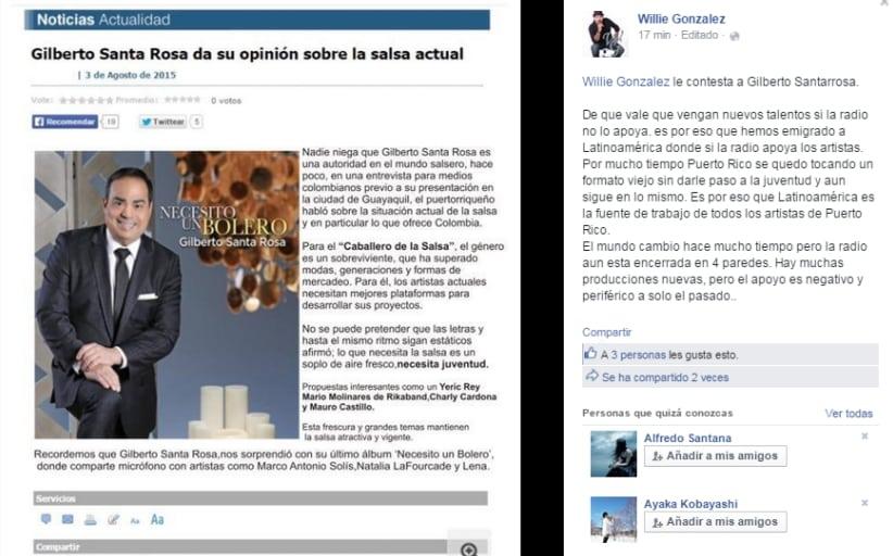 WILLIE GONZÁLEZ RESPONDE A GILBERTO SANTA ROSA SOBRE EL TEMA DE LA SALSA ACTUAL