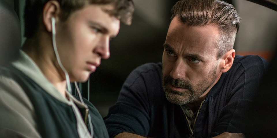 Jon Hamm and Ansel Elgort in Baby Driver