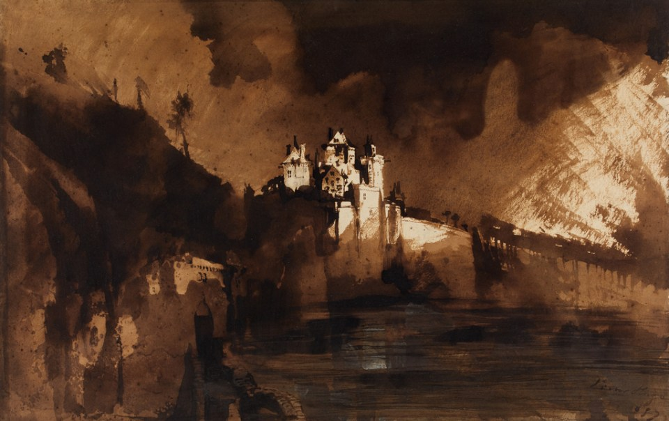 Victor Hugo, Landscape with a Castle (1857)