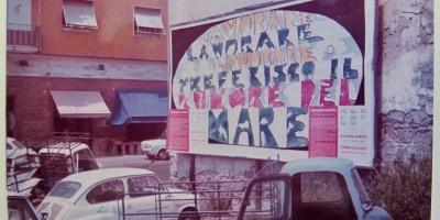 "12.5– 3.2.19 Hunt-Cavanagh Gallery Opening Reception & Curator Talk: Wednesday 12.5.18 6pm Many Cities, One Providence— Operation 24 paper sheets: Subversive Public Art in 1970s Urban Italy Ugo Nespolo, ""Lavorare, Lavorare, Lavorare"", 1973. Courtesy of Archivio Crispolti Arte Contemporanea, Rome, Italy"
