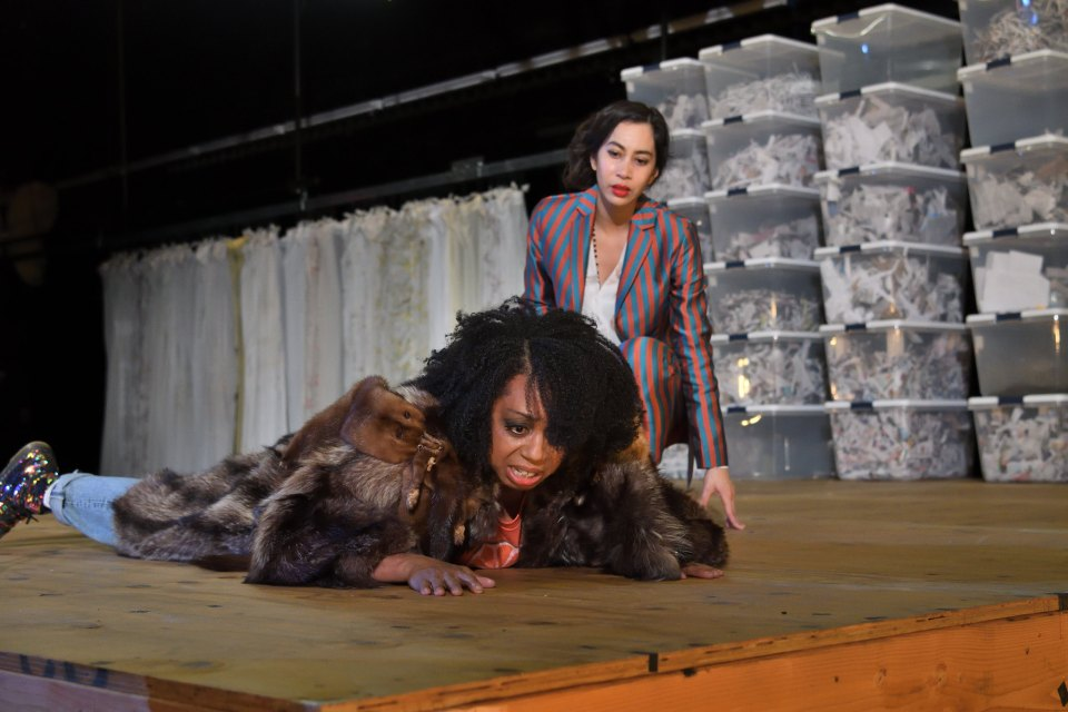 Jackie Davis and Octavia Chazez-Richmond in Marisol at Trinity Rep. photo by Mark Turek
