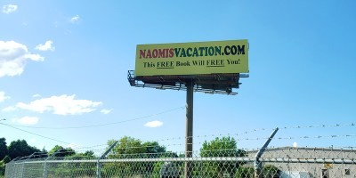 Naomi's Vacation billboard on I-95 in Cranston, Rhode Island