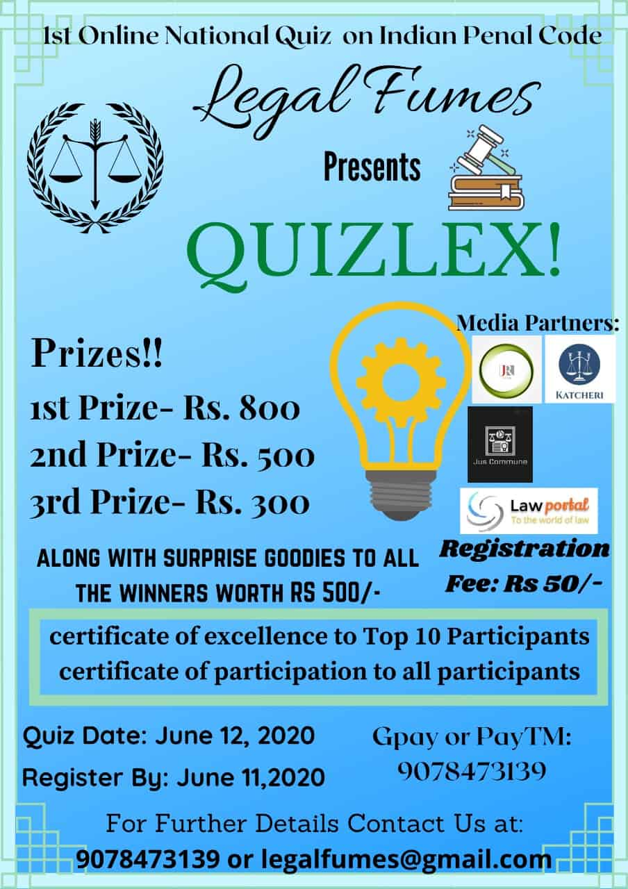 41964a3f e99b 468b 8c07 19d1d2e82dad Quizlex - 1st online national quiz competition on Indian Penal Code by LegalFumes
