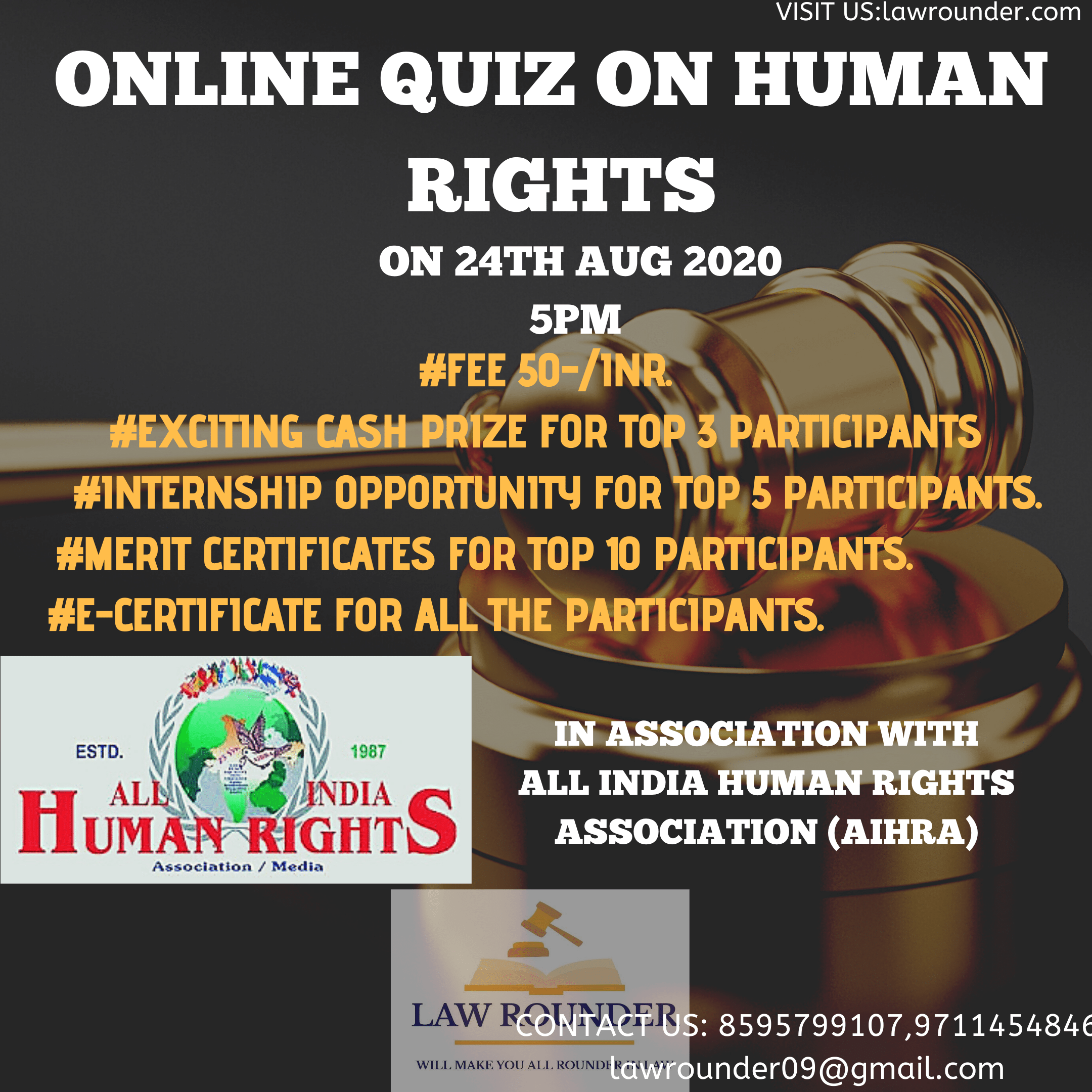 20200813 162729 0001 Law Rounder's Online quiz competition on  HUMAN RIGHTS  in association with  ALL INDIA HUMAN RIGHTS ASSOCIATION(AIHRA)