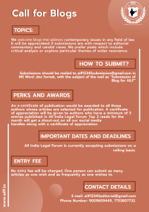 Call for Blogs: All India Legal Forum: No submission fees; Submissions on Rolling Basis