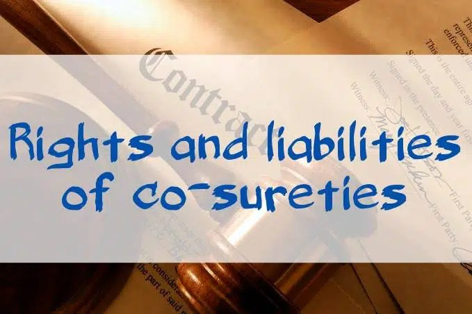 Rights and liabilities of co-sureties